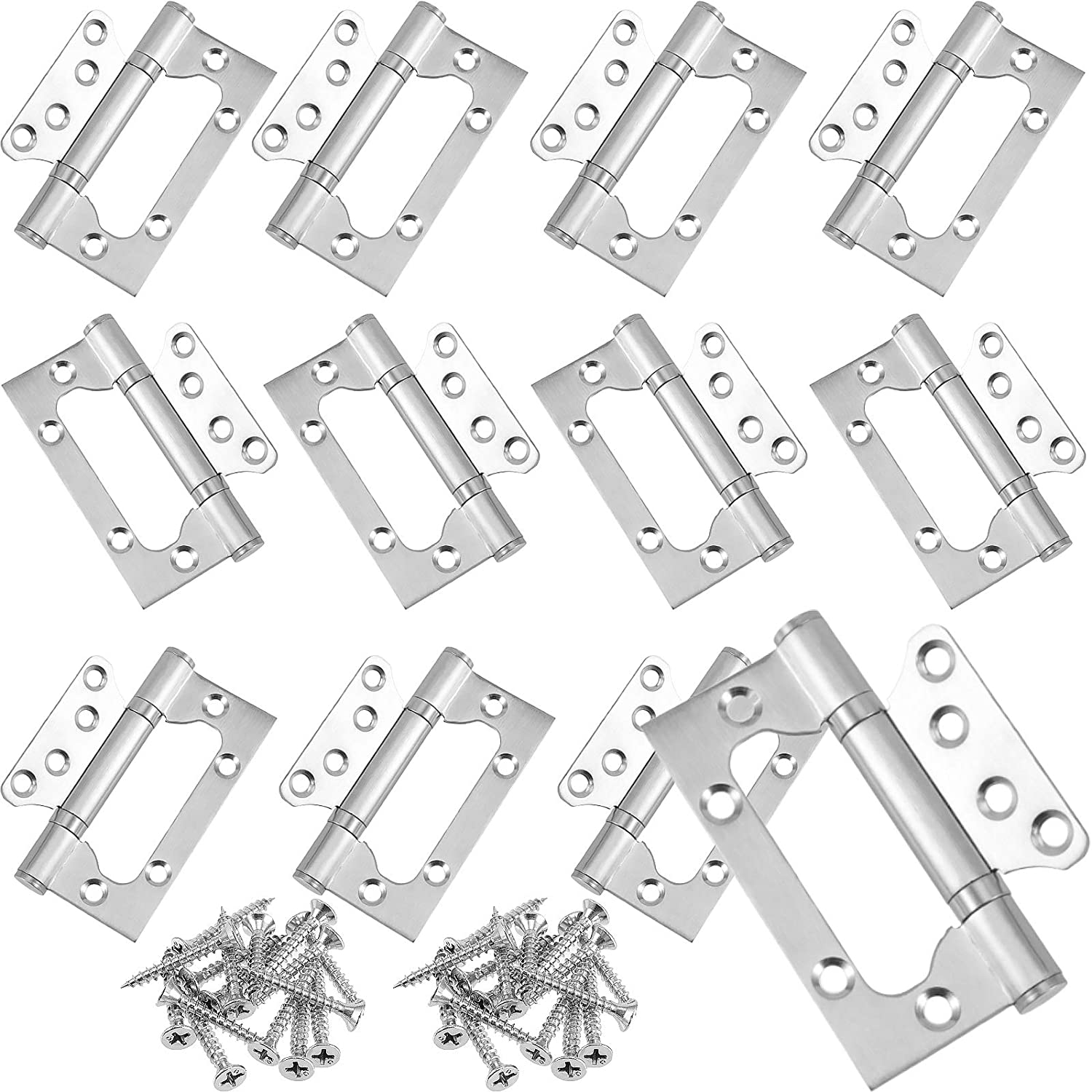 FAATCOI 12 PCS 4x3-Inch Non-Mortise Door Hinges, Stainless Steel Door Hinges Ball Bearing Heavy-Duty Brushed Steel Finish for Home Door Furniture, Shipped with 96 PCs Mounting Screws