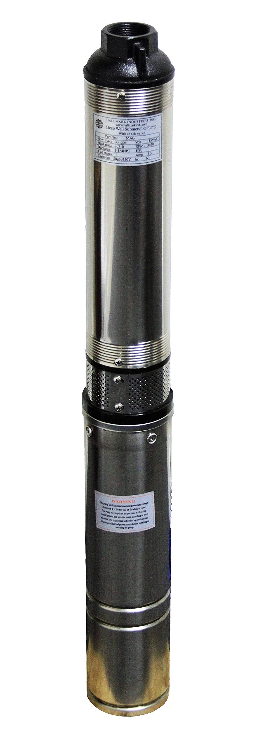 Hallmark Industries MA0414X-7A Deep Well Submersible Pump, 1 hp, 230V, 60 Hz, 33 GPM, 207' Head, Stainless Steel, 4'' by Hallmark Industries