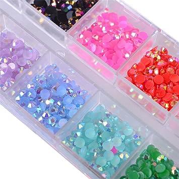 Amazon.com  12 Color 3Mm Crystal Jelly Rhinestones 3D Nail Art Decor Stones  Manicure  Beauty 9897e87413f4