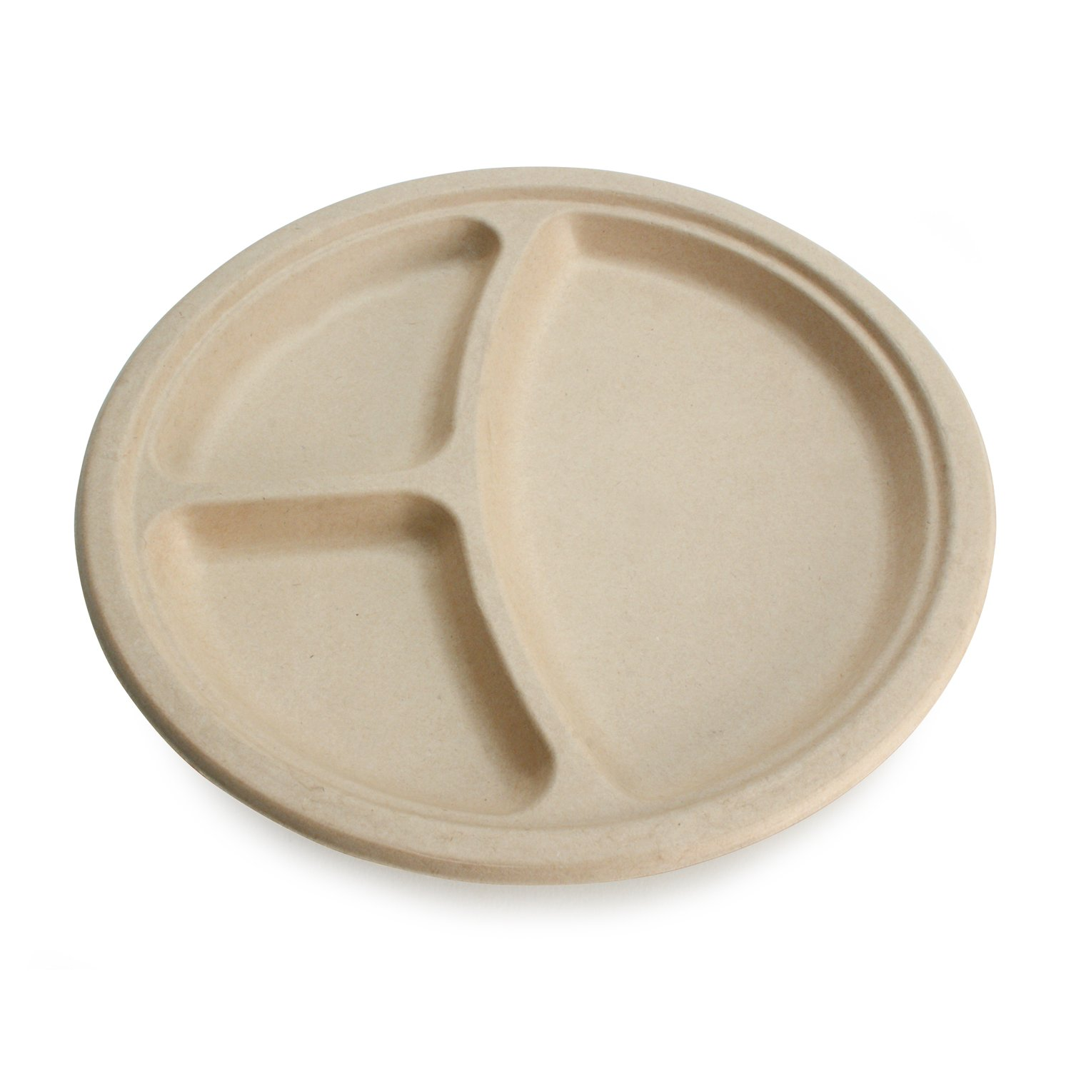 Earth's Natural Alternative Wheat Straw Fiber, Bagasse (Sugarcane) Tree Free 10'' 3-Compartment Round Plate, 500/Case