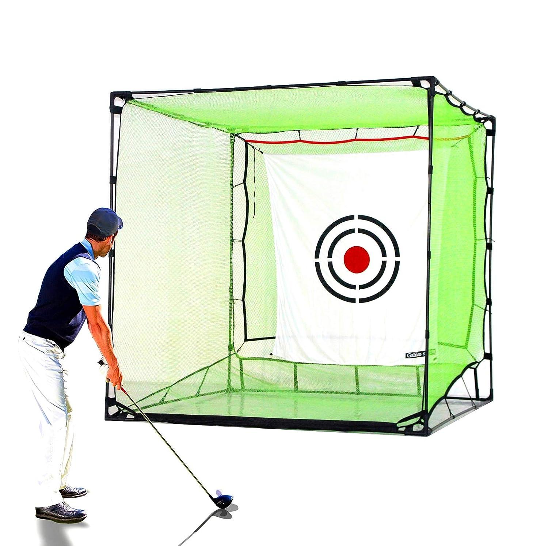 Galileo ゴルフネット ヒッティング ケージ 練習 ドライビングネット 屋内 屋外 高衝撃 ダブルバックストップ ターゲットトレーニングエイド付き 自動ボールリターンネット 裏庭用  7'(L)X7'(W)X7'(H) B07NV8N97P