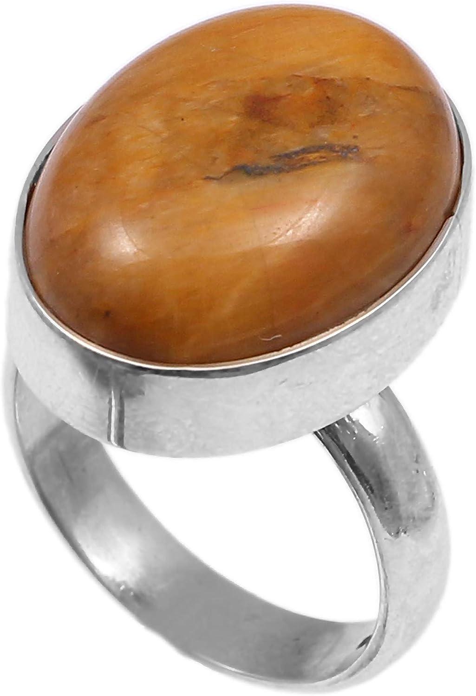 Anillo de plata de ley 925 para mujer anillo de piedra preciosa natural Jaspe Banda de boda para las mujeres Piedras preciosas anillo, anillo de compromiso Tamaño del anillo 13(r-43)