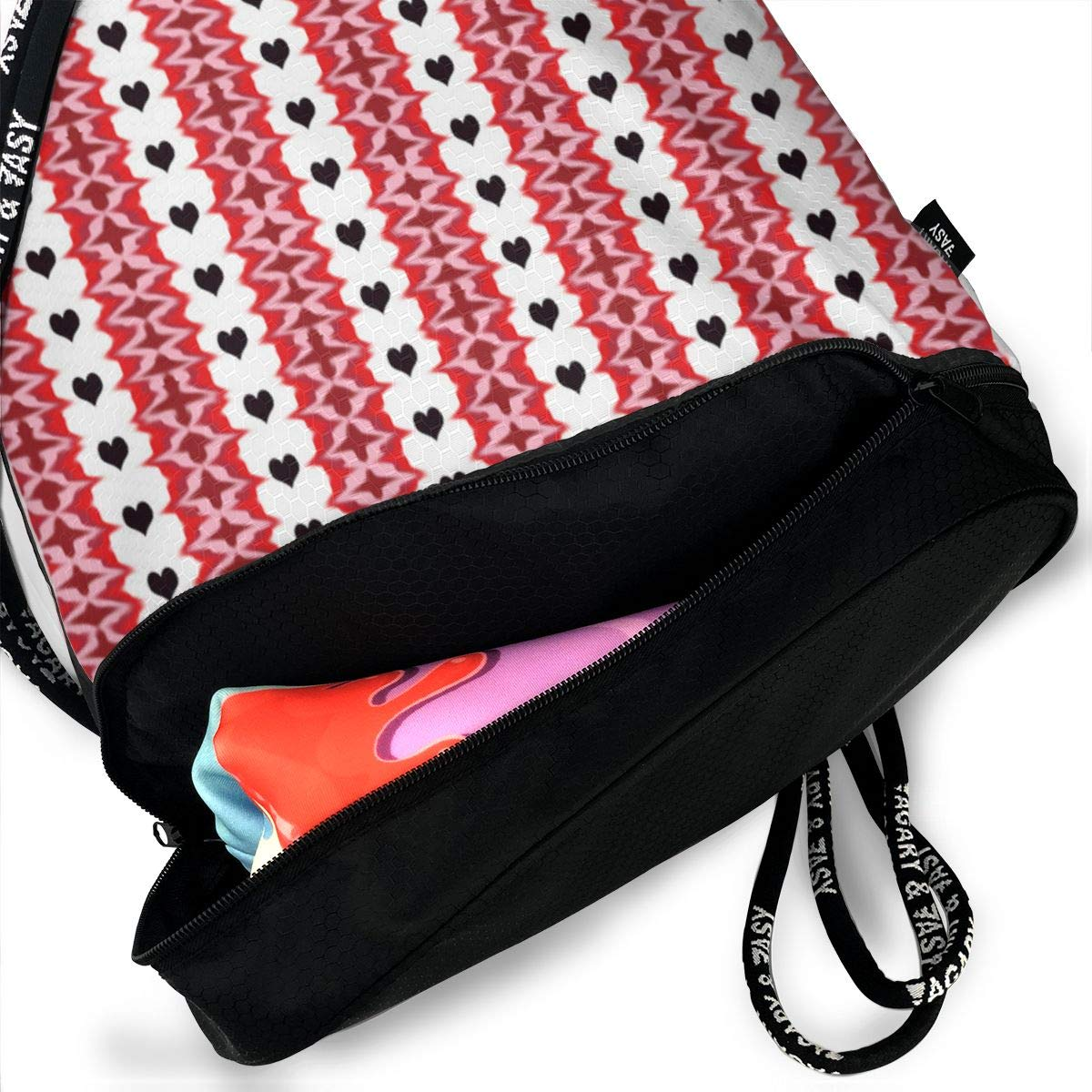 Blackheartedstripe2 Drawstring Backpack Sports Athletic Gym Cinch Sack String Storage Bags for Hiking Travel Beach