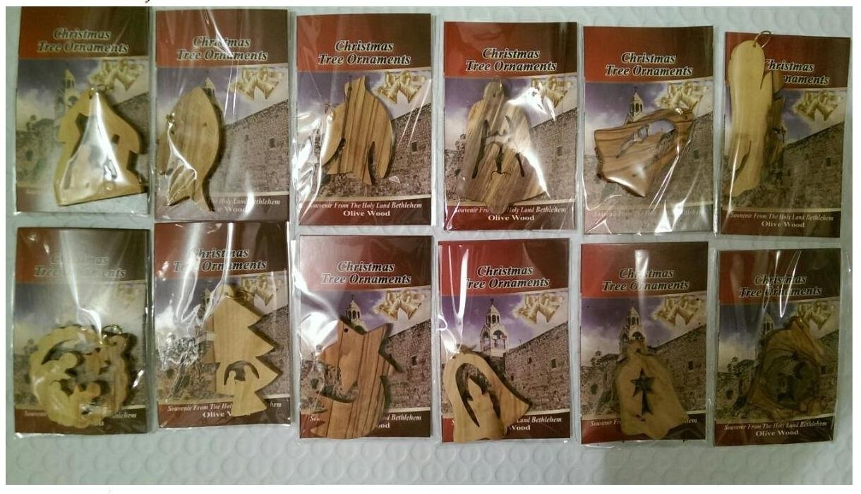 Bethlehem Olive Wood Complete Christmas Ornament Set. Nativity Story by Bethlehem Gifts TM (12 Ornaments)