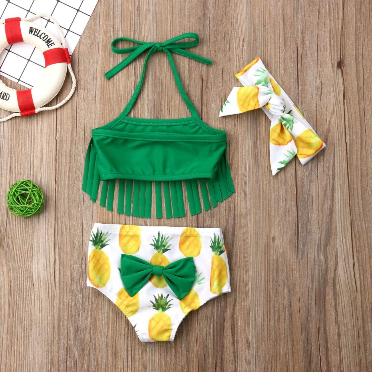 Patricks Day Green Bathing Suit 3Pcs Infant Baby Girls Halter Neck Tassel Swimsuit Pineapple Shorts Top Headband St