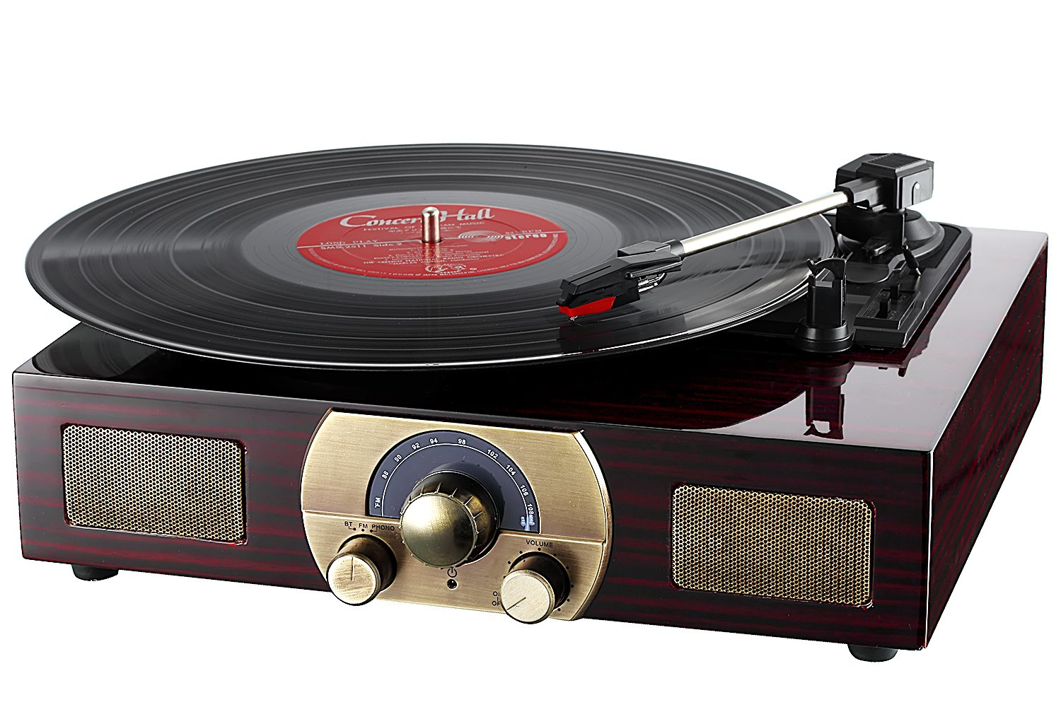 LuguLake Stereo 3-Speed Turntable with Built-In Bluetooth Speakers, Record Player, FM Radio and RCA Output, Vintage Phonograph with Retro Wooden Finish (TN01)