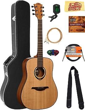 Lag t80d Tramontana Dreadnought Guitarra Acústica Paquete con funda rígida, sintonizador, cuerdas, púas