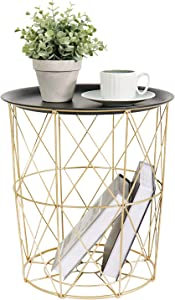 Tiita Laundry Basket Coffee Table Storage Basket Gold Modern Side Table Small Metal End Table with Lifting Plate