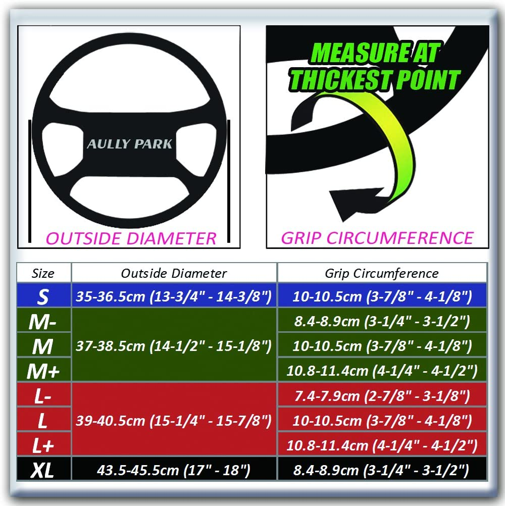 AULLY PARK Universal Steering Wheel Cover Genuine Leather Stitch On Wrap Size M-, Black