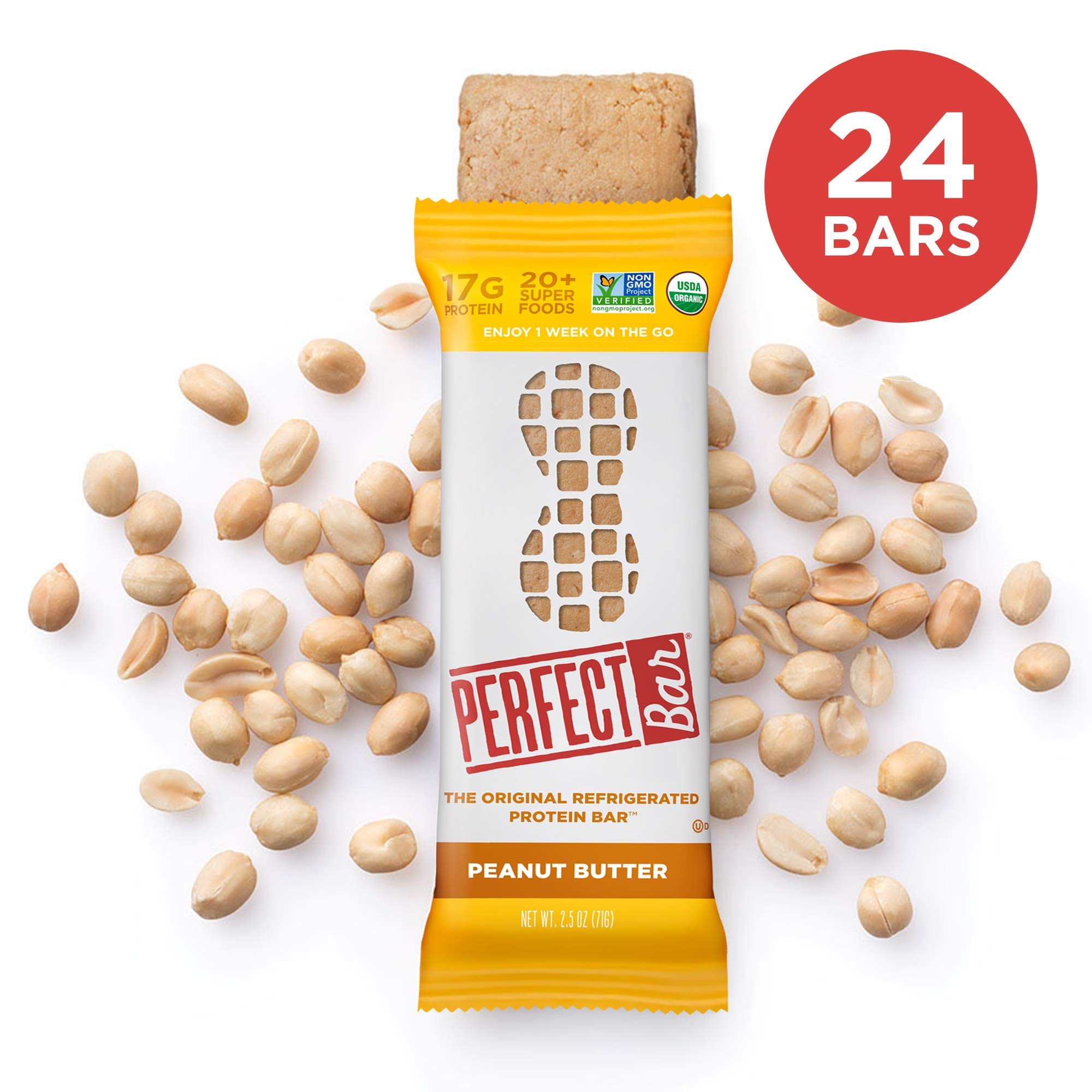 Perfect Bar Original Refrigerated Protein bar, Peanut Butter, 17g Whole Food Protein, Gluten Free, Organic & Non-Gmo, 2.5 Oz. bar, 8 Count (Pack of 3) by Perfect Bar
