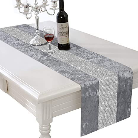 Amazon Com Halovie 13 X 82 Inch Table Runner Rectangular Coffee Dining Table Cloth Dresser Runners With Diamante Strip For Home Kitchen Christmas Party Wedding Decorations Gray Home Kitchen