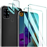 [4 Pack] ivencase 2 Pack Samsung Galaxy A21s Glass Screen Protector + 2 Pack Tempered Glass Camera Lens Protector for Galaxy