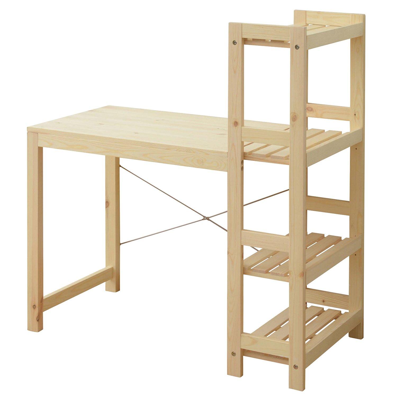 Amazon.co.jp: 山善(YAMAZEN) 収納ラック付デスク(幅111) 天然木 パイン材 パソコンデスク ナチュラル  TDR-1150(NA): ホーム&キッチン