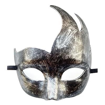 Coolwife Máscara de la Mascarada Veneciana para Hombre Diseño clásico Prom Mardi Gras Máscaras (Plata Antigua Negra): Juguetes y juegos