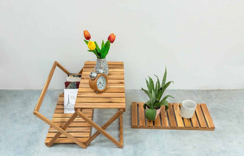Beefurni 3-Tier Acacia Wood Foldable Shelf Plant Stand
