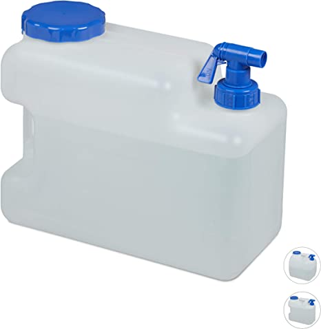 Relaxdays Bidón de Agua con Grifo, Tapa de Rosca, Garrafa XL, Camping, 12L, Sin BPA, 1 Ud, Blanco, 12 L