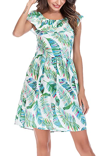 Vestido Mujer Verano Moda Casual Hojas Estampado Una Línea Vestidos Cortos Elegantes Sin Mangas Cuello Redondo Sin Espalda con Volantes Vestido Playa: ...