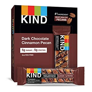 KIND Bars, Dark Chocolate Cinnamon Pecan, Gluten Free, Low Sugar, 1.4oz, 12 Count