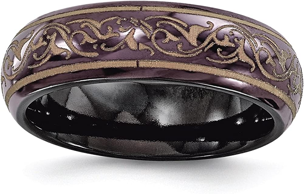 Edward Mirell Black Ti Domed Anodized Copper Color 6mm Band