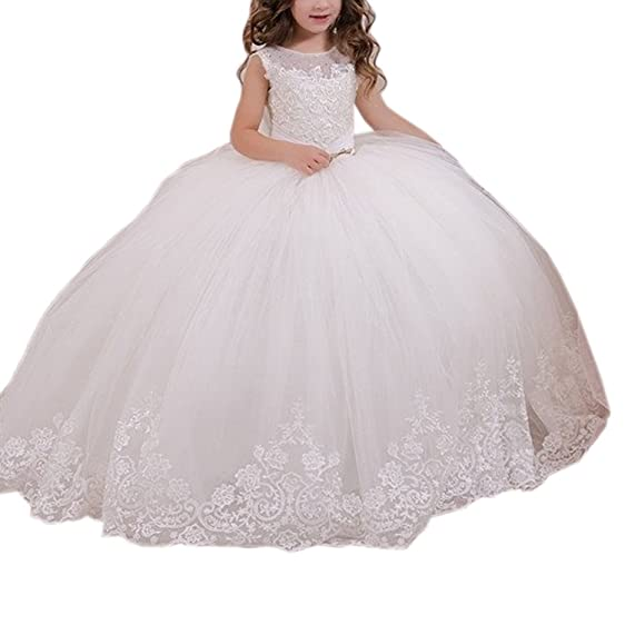 Amazon.com: Puffy White Ball Gown First Communion Dresses for Flower ...