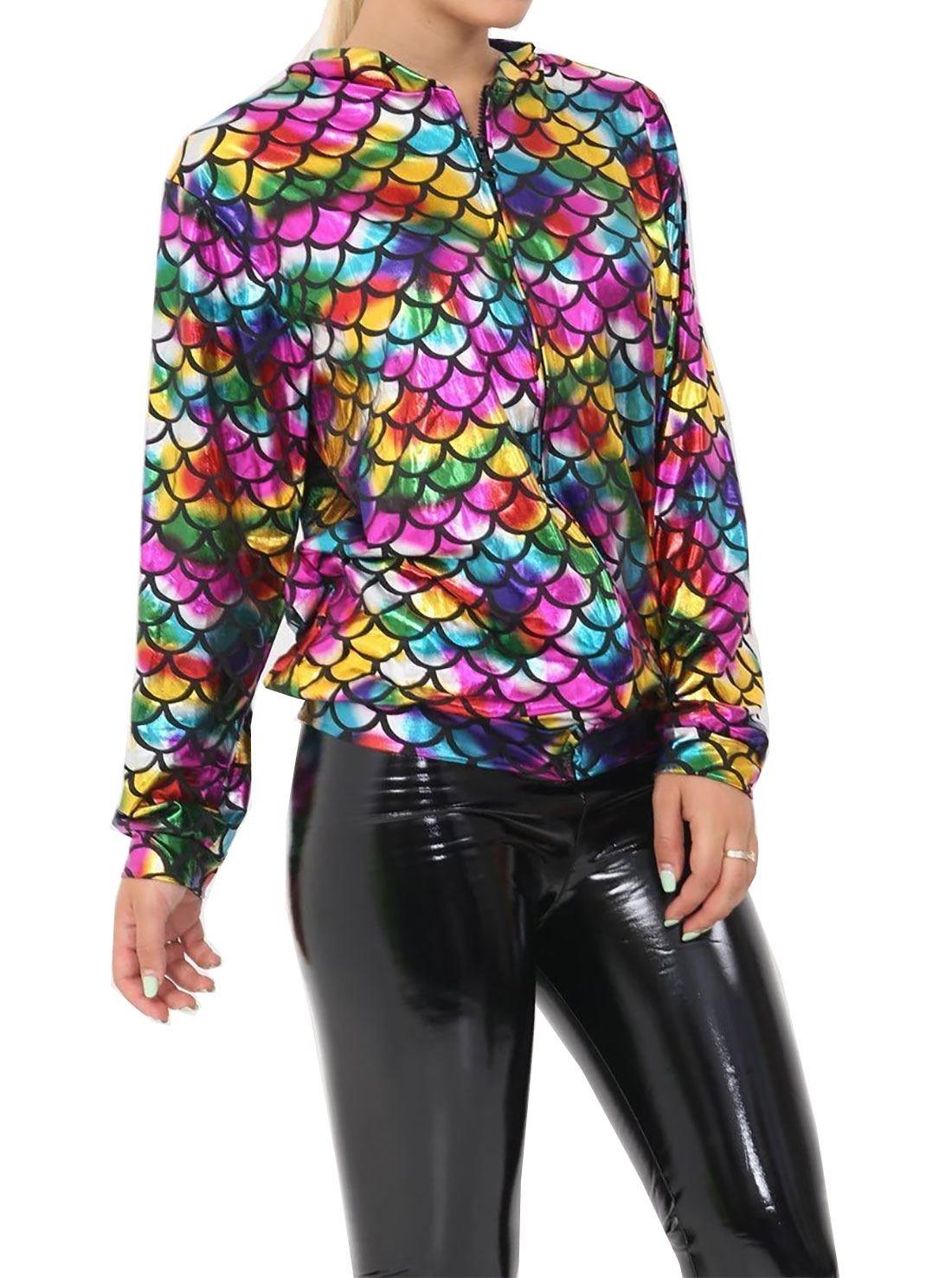 MA ONLINE Ladies Mermaid Fish Scale Metallic Long Sleeve Bomber Jacket Womens Rainbow Zip up Top Coat Rainbow Medium/Large