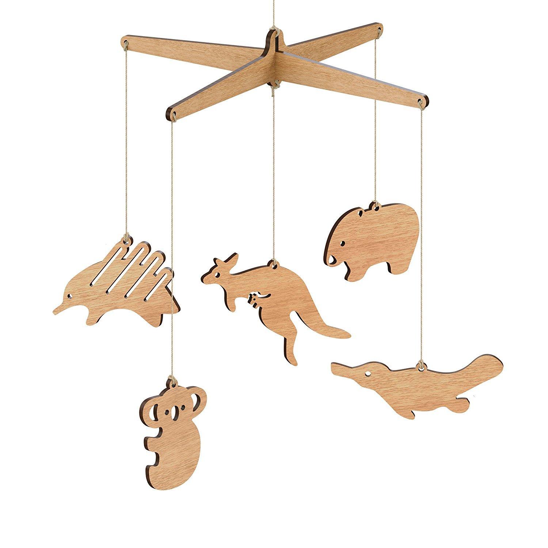 Wooden Australian Animal Nursery Baby Mobile - Tasmanian Oak / Flat pack (Kangaroo, Koala, Platypus, Echidna, and Wombat) Byrne Woodware