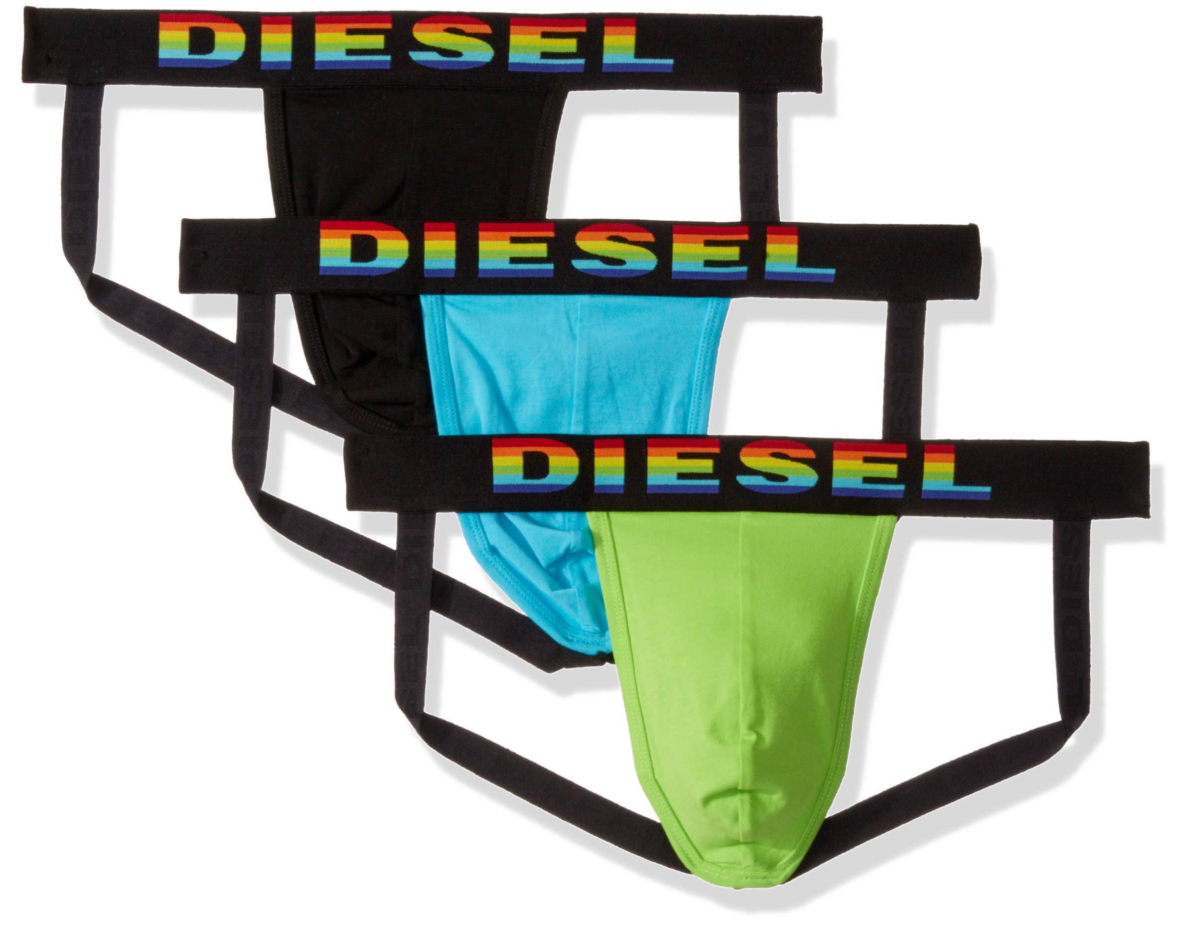 Diesel Men's JOCKYTHREEPACK Jockstrap 3pack, Black/Green/Blue, X-Large by Diesel