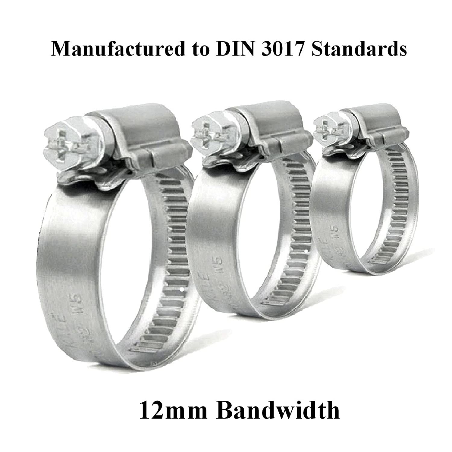 10 x High Grade Worm Drive Jubilee Hose Clamps 90-110mm 12mm Band W1 Zinc Coated Hose Clips