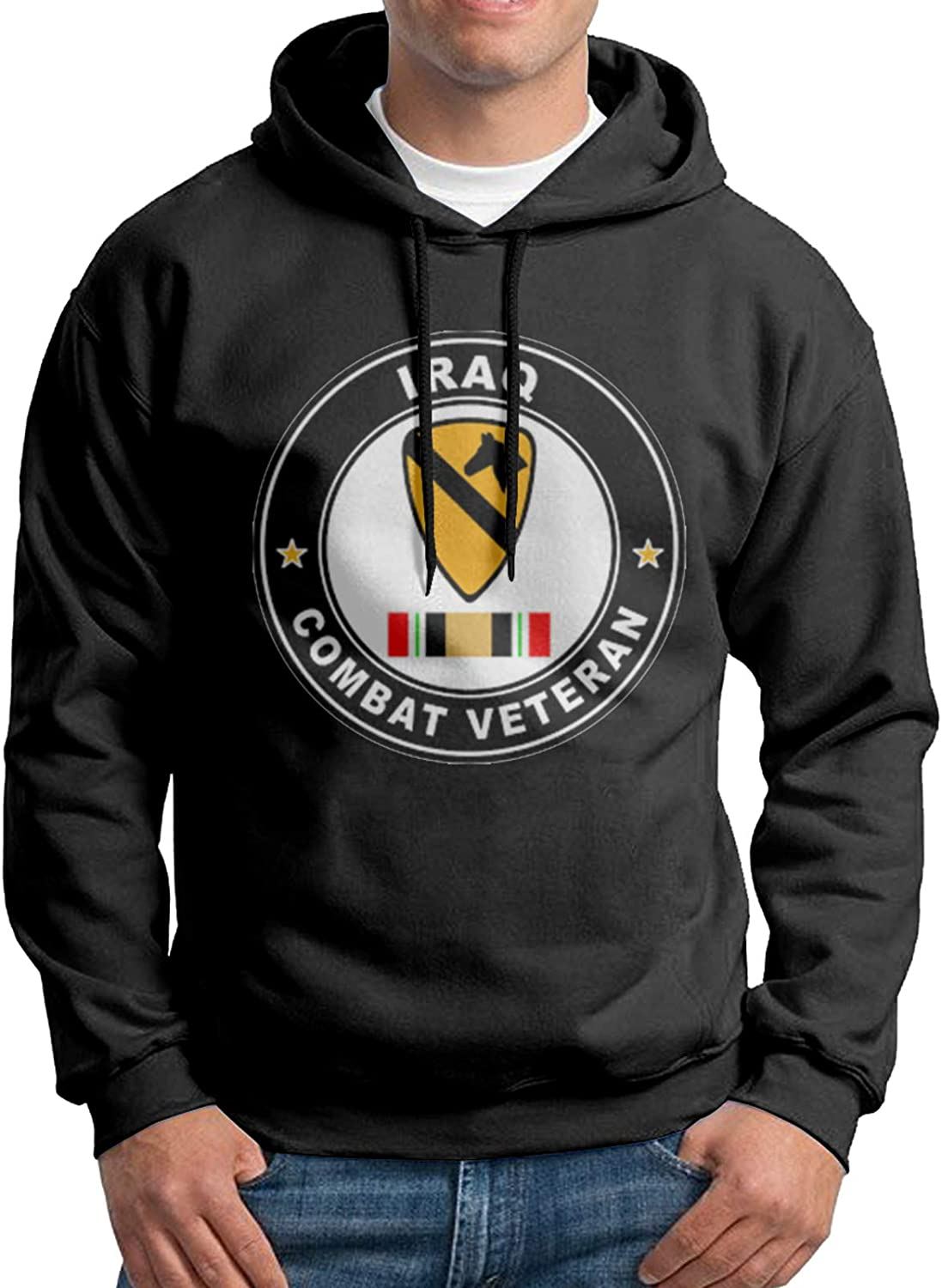 BSUUJCGF 1st Cavalry Division Iraq Combat Veteran Mens Jogging Breathable and Soft Hoodie Front Print Sportswear