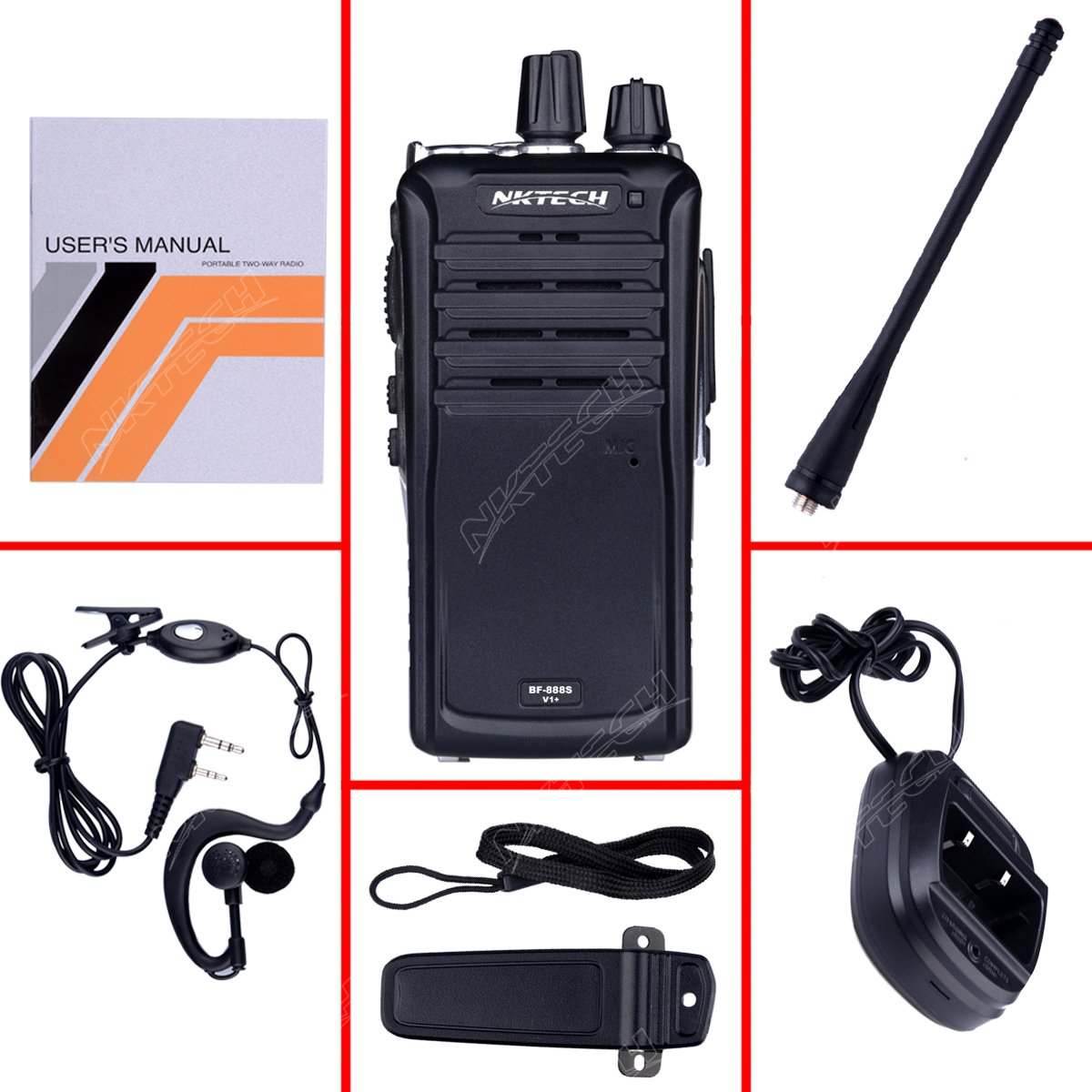 NKTECH BF-888S V1 UHF 400-470MHz 5W 16 Channels Ham Transceiver Two Way a Radio Walkie Talkie with 1800mAh 3.7V Li-ion Batteries Accessories Warranty Pack of 2 BF-888S-V1+