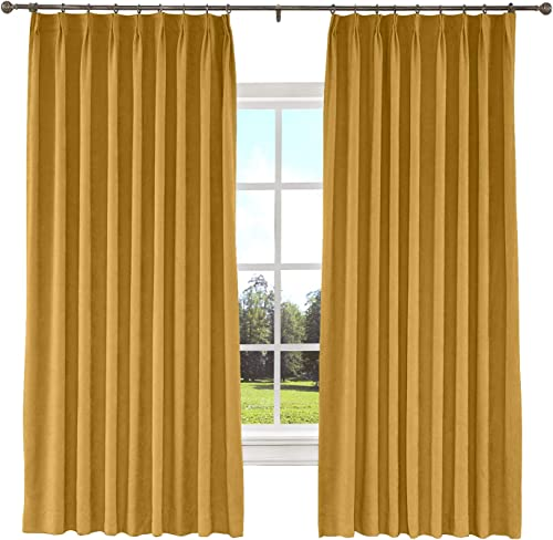 ChadMade Extra Long and Wide Curtains 100 W x 102 L Polyester Cotton Drapery with Blackout Lining Pinch Pleated Curtain Room Darkening Yellow 1 Panel , Kante Collection