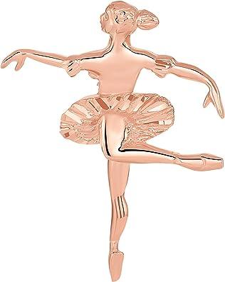14k White Gold Ballerina Girl Charm Tiny Dancer Pendant