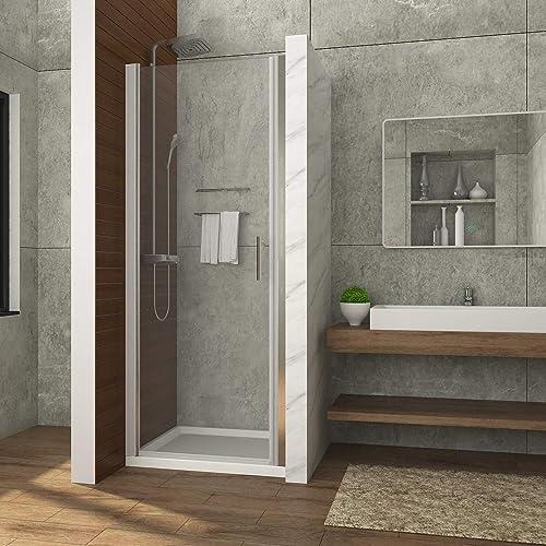 ELEGANT Pivot Shower door, Semi-Frameless Bifold Swing Shower Door with 3 16 in. Clear Glass, 32 in. W x 72 in. H, Chrome Finish