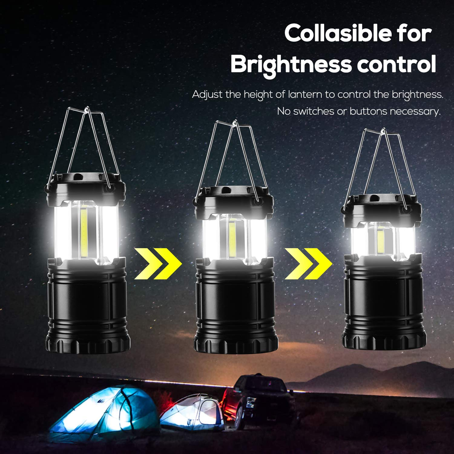 350 Lumens Power Outage Hurricane Hiking Portable for Outdoor Emergency Waterproof Shockproof Handheld Size Gukos 2-Pack Camping Lantern COB LED Lights Collapsible Lamp