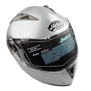 Casco de Moto de Doble Lente con Visera Integral Casco de Protección de Motocicleta (L