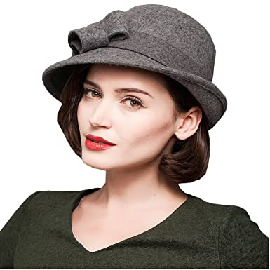 Maitose Trade  Women s Wool Felt Bow Flowers Church Bowler Hat Gray ... 1ae4742cedfc