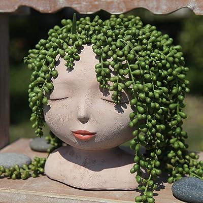 YIKUSH Female Head Design Succulents Plant Pot with Drainage Hole/Cactus Planter Indoor Outdoor Resin Planter, Cute Plants Flower Pot,No Plant: Home & Kitchen