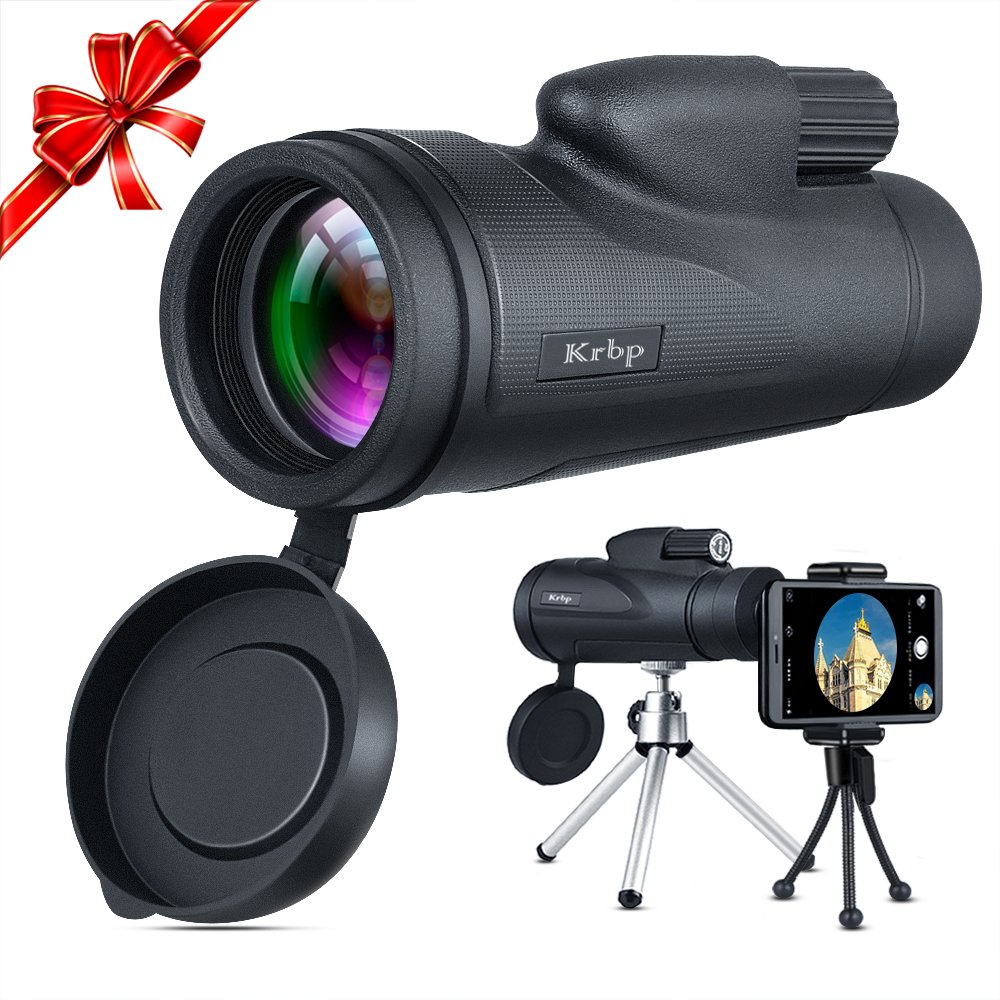 Monocular Telescope, Low Light Night Vision Monocular Telescope 12X50 High Power Prism with Tripod/Phone Clip ETC, for Bird Watching/Hunting/ Camping/Hiking / Golf/Concert/ Surveillance by Krbp