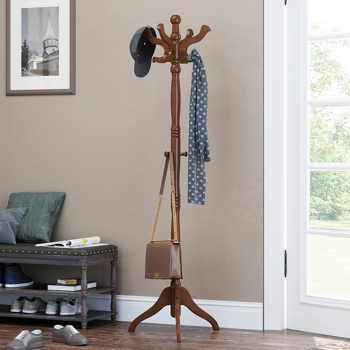 VASAGLE Coat Rack Free Standing with 11 Hooks, Wooden Hall Tree Coat Hat Tree Coat Holder with Solid Rubberwood Base for Coat, Hat, Clothes, Scarves, Handbags, Umbrella, Dark Walnut URCR05WN