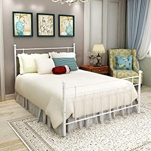 Elegant Home Products Queen Size Metal Bed Frame Platform with Steel Headboard and Footboard Mattress Foundation Bedroom Furniture No Box Spring (White, Queen)