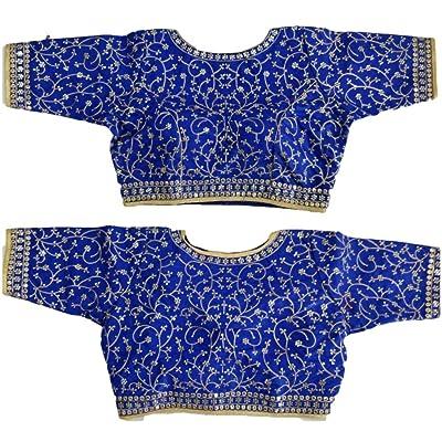 REKHA Blusa Sari Choli Top & Saree Blusa Blusa de Puntada Completa Todos Sari Blusa a Juego de Color para Mujeres 627: Ropa y accesorios