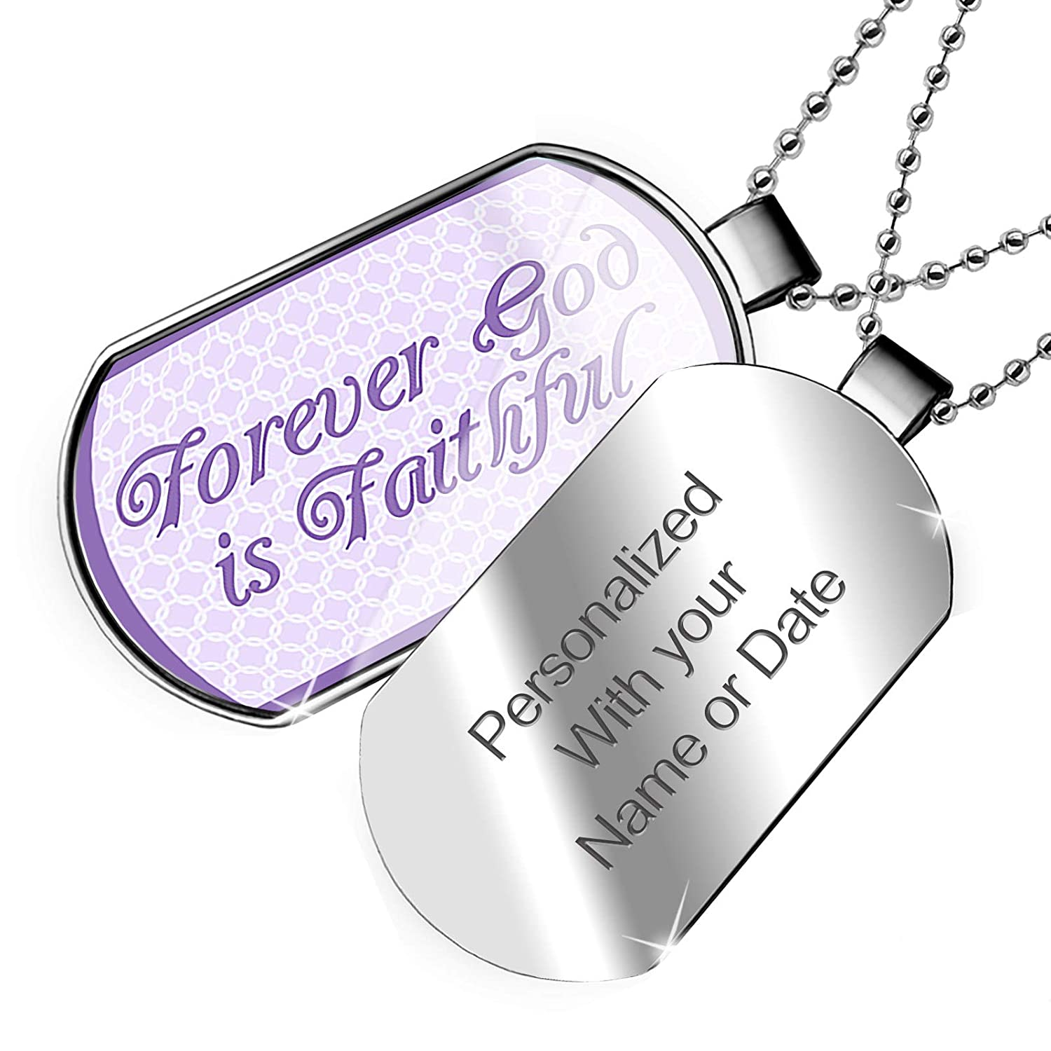 NEONBLOND Personalized Name Engraved Forever God is Faithful Purple Easter Trellis Dogtag Necklace