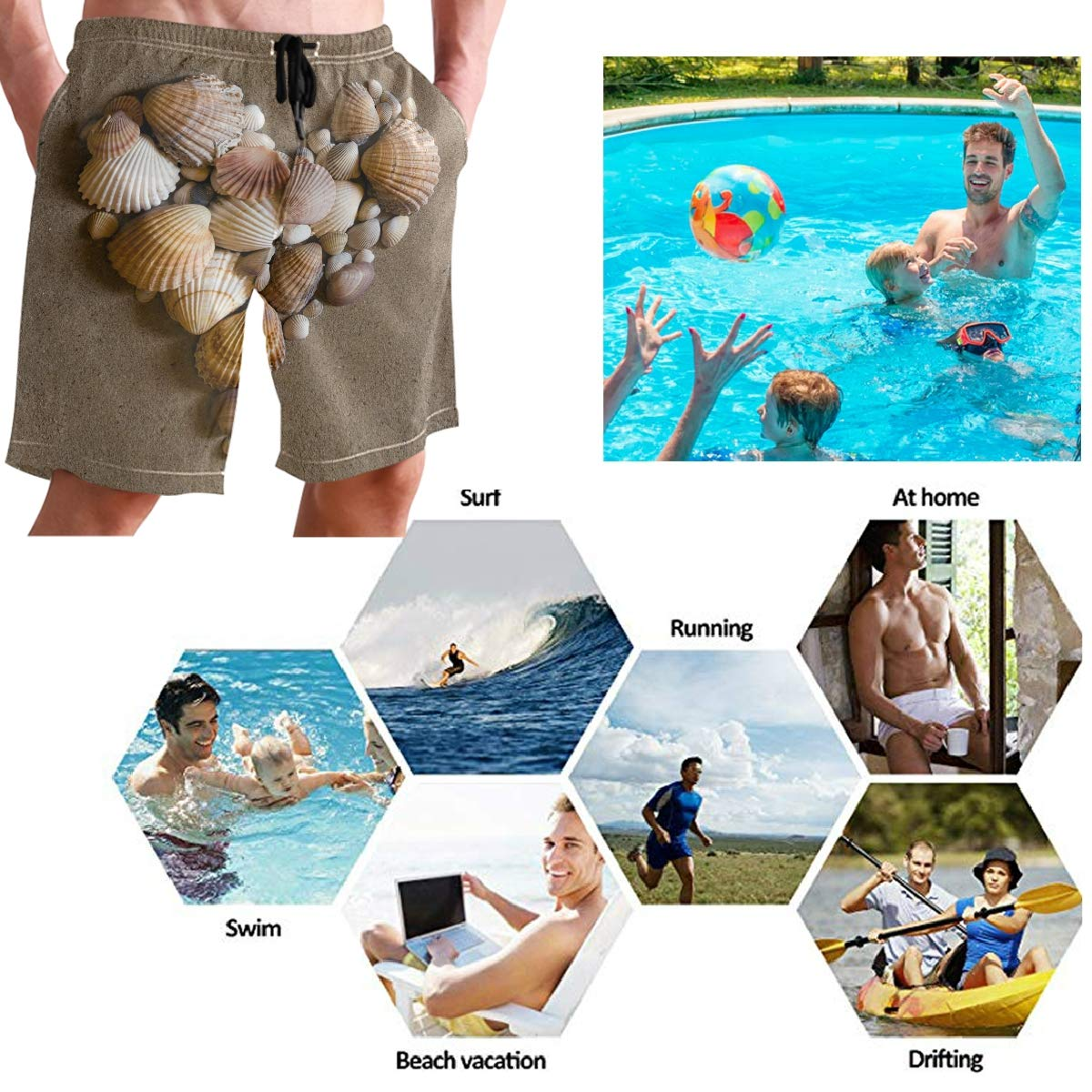 Mens Swim Trunks Shell Heart On Sand Tropical Sea Beach Board Shorts with Lining