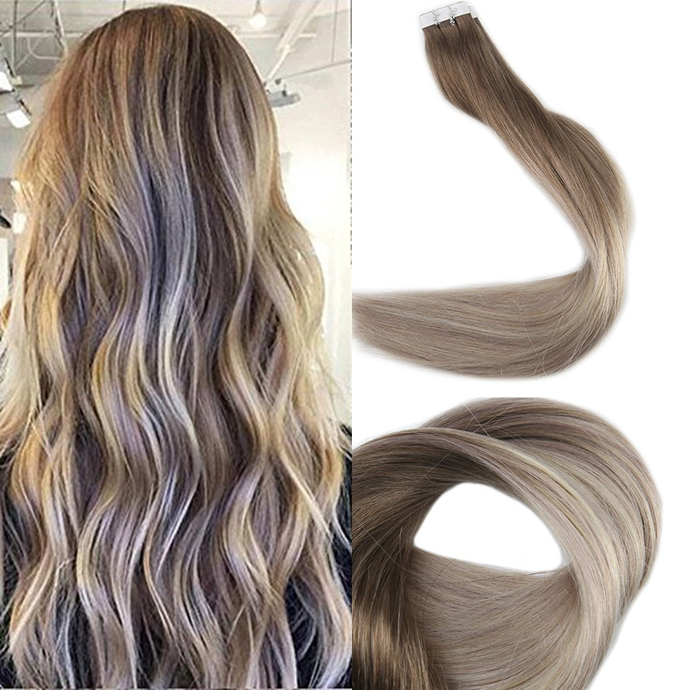 Full Shine 14'' Skin Weft Professional Hair Extensions Balayage Tape in Extensions Color #8 Ash Brown Fading to Blonde #60 and #18 20Pcs 50 Gram Remy Tape Extensions