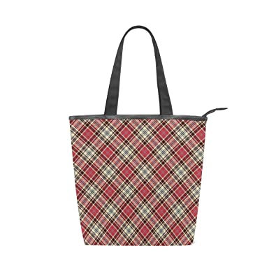 ac5d38ac9044 Passionate Red Checkered Pattern Women s Canvas Iconic Large Handbag  Shoulder Iconic Cotton Canvas Zipper Gym Beach