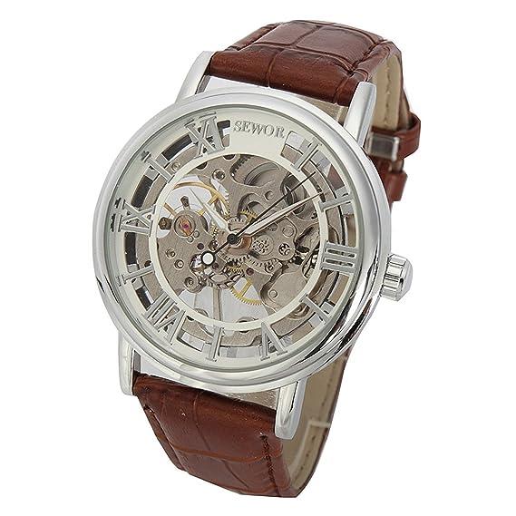 SEWOR - Reloj de pulsera mecánico transparente esqueletizado para hombre, con correa estilo vintage (