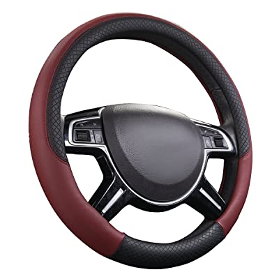 CAR PASS Rhombus Leather Universal Steering Wheel Cover, Fit for Suvs,Trucks,Cars,Sedans,Vans(Black and Wine Red): Automotive