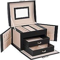 SONGMICS Smyckeskrin, resesmyckesfodral, bärbar, låsbar smyckeslåda, med 2 lådor, speglar, lås och nyckel, presentidé…
