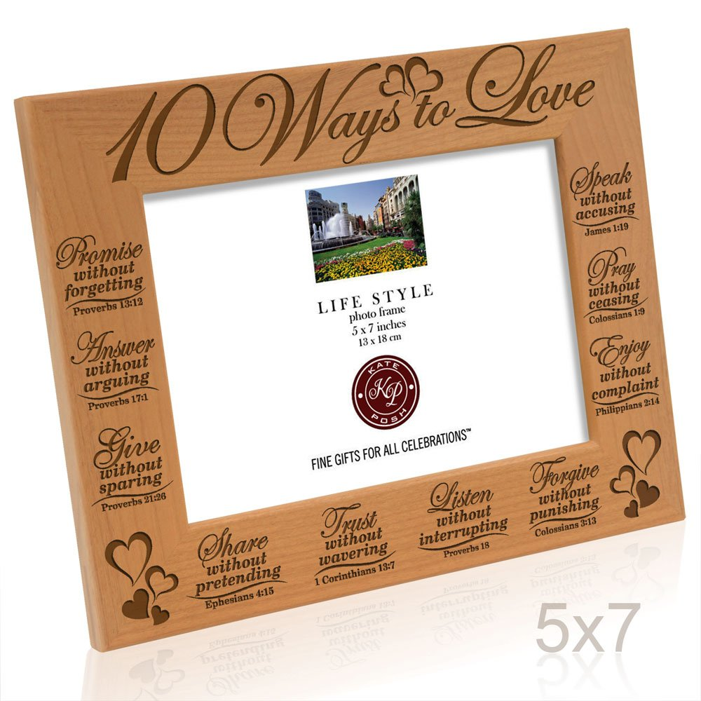 Answer Promise 10 Ways to Love Bible Verses Picture Frame Speak Listen Trust Give 5x7 Horizontal Kate Posh Pray /& Enjoy Forgive Share