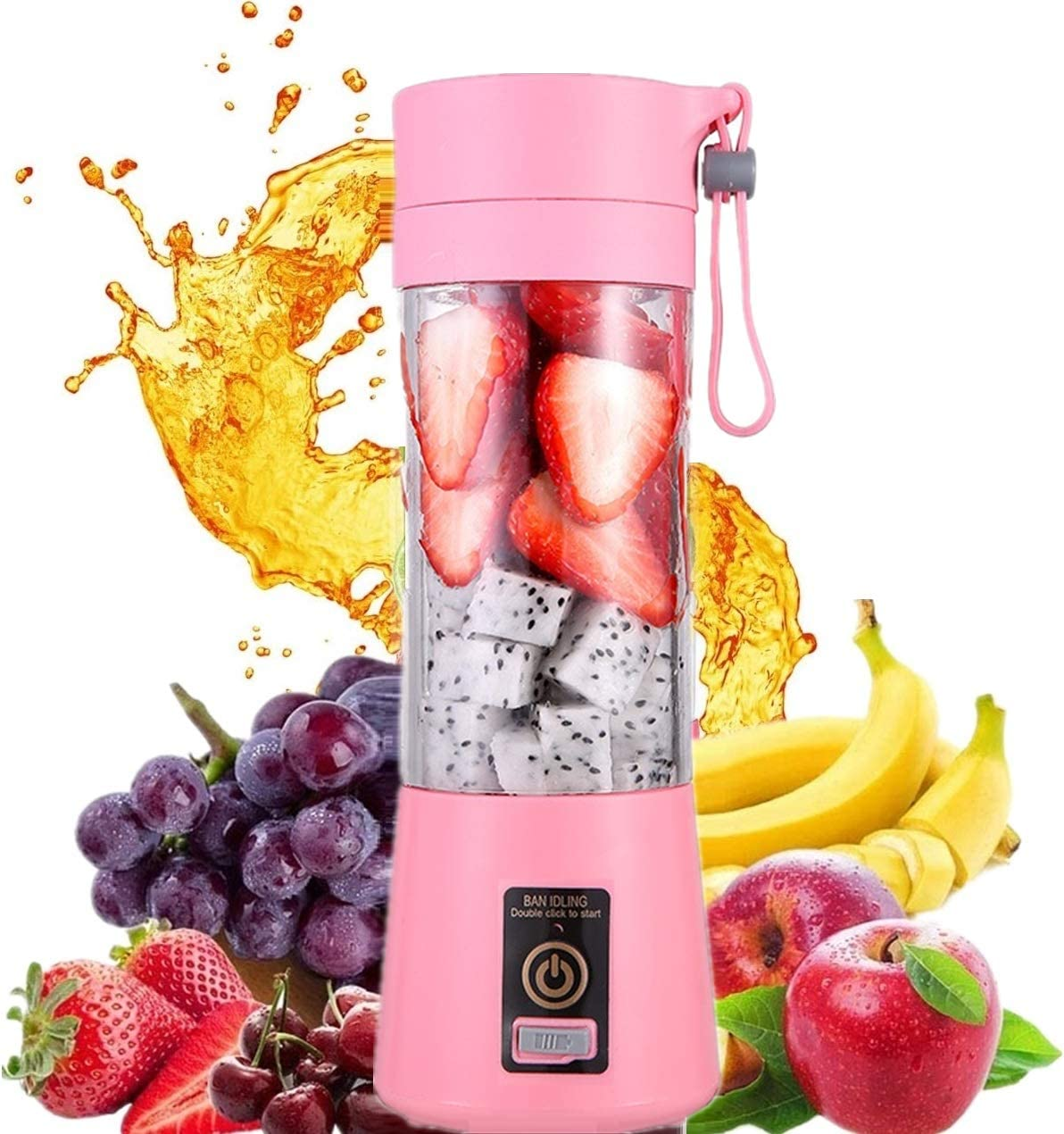 HANBO Electric Portable Juicer Blender Cup, Household Fruit Mixer with Six Blades in 3D, 380ml USB Rechargeable Juice Blender Magnetic Secure Switch Electric Fruit Mixer (Pink)